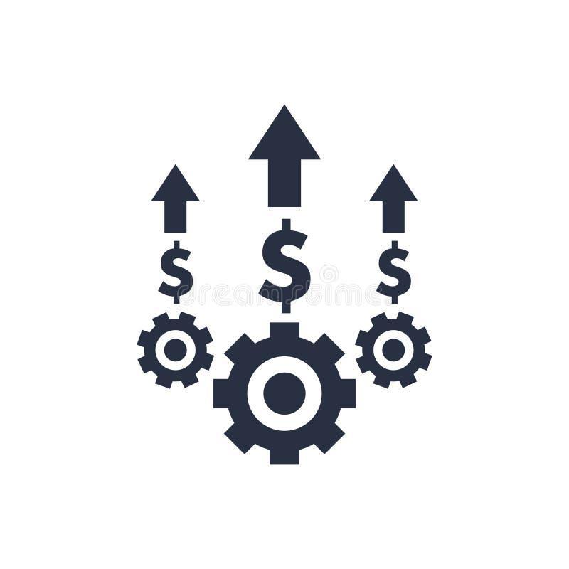 Kosztu optymalizacja i produkci wydajność, kosztu zarządzania ikona Biznesowy wydajności i ilości usługa pojęcie ilustracji