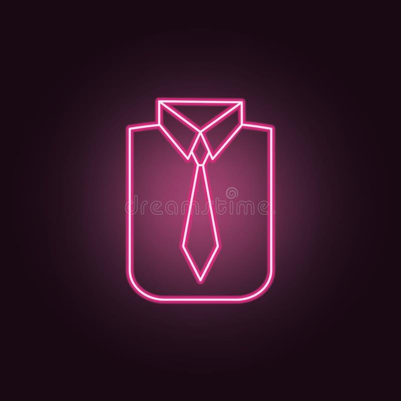 Koszula i krawata neonowa ikona Elementy przyj?cie set Prosta ikona dla stron internetowych, sie? projekt, mobilny app, ewidencyj ilustracji