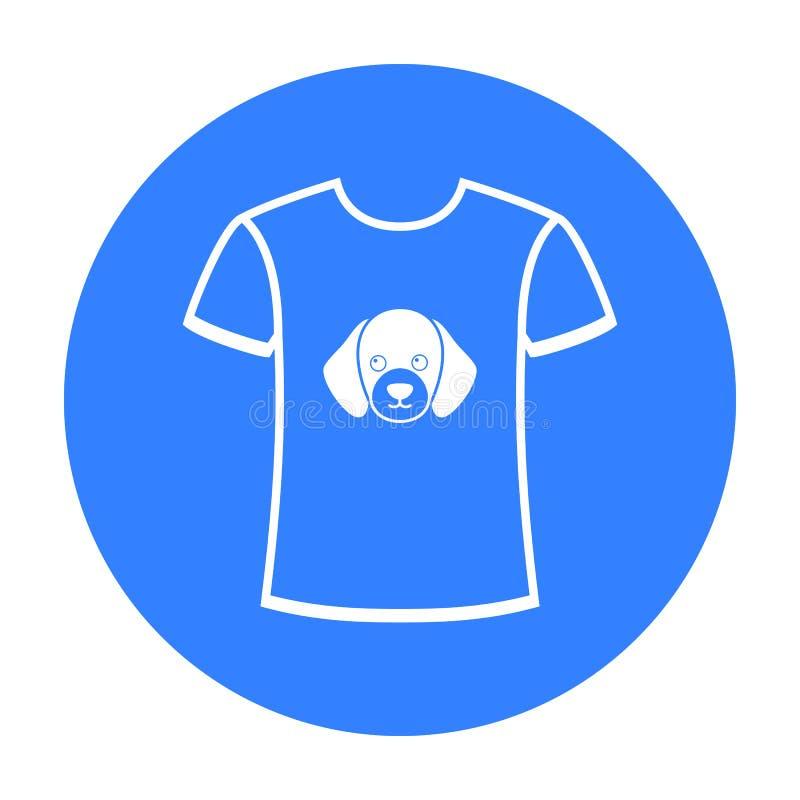 Koszula kocham pies wektorową ikonę w czerń stylu dla sieci royalty ilustracja