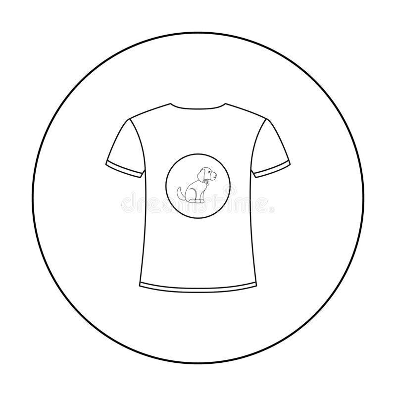 Koszula kocham pies wektorową ikonę w konturu stylu dla sieci ilustracja wektor