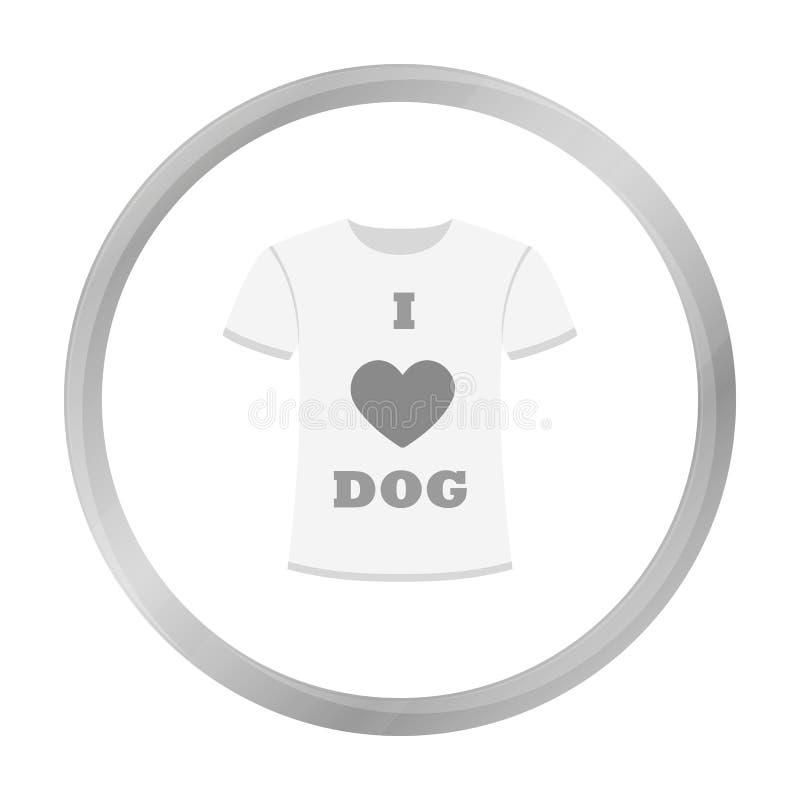 Koszula kocham pies wektorową ikonę w monochromu stylu dla sieci ilustracja wektor