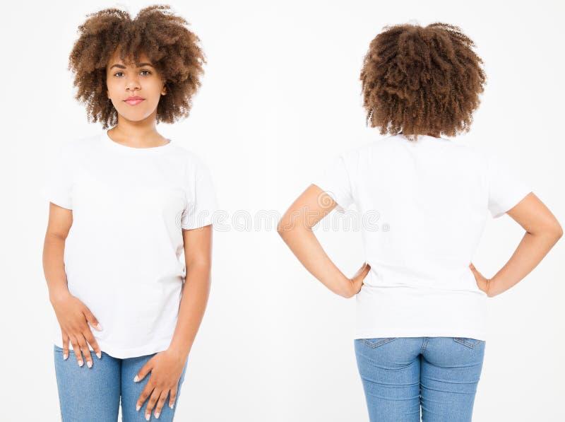 Koszula ustawiać Lata t koszulowy projekt i zamyka up młoda afro amerykańska kobieta w pustej szablonu bielu koszulce Egzamin pró obraz royalty free