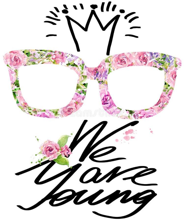 Koszulek grafika mody spojrzenie Wzrastał kwiat akwarelę royalty ilustracja