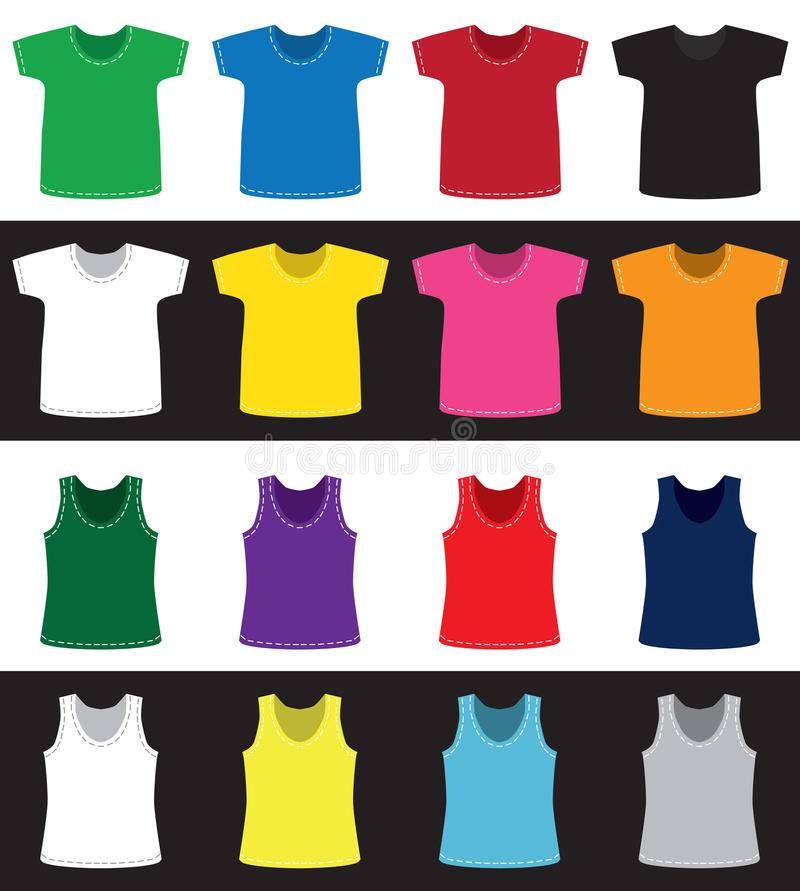 Koszulek i koszula różni kolory bez wzoru ilustracja wektor