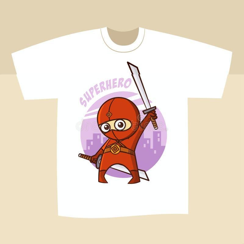 Koszulka Białego druku projekta bohater Ninja ilustracja wektor
