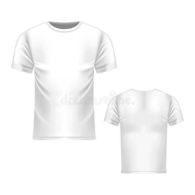 Koszulka biały szablon, przód i tylny widok, Wektorowy realistyczny egzamin próbny up ilustracji