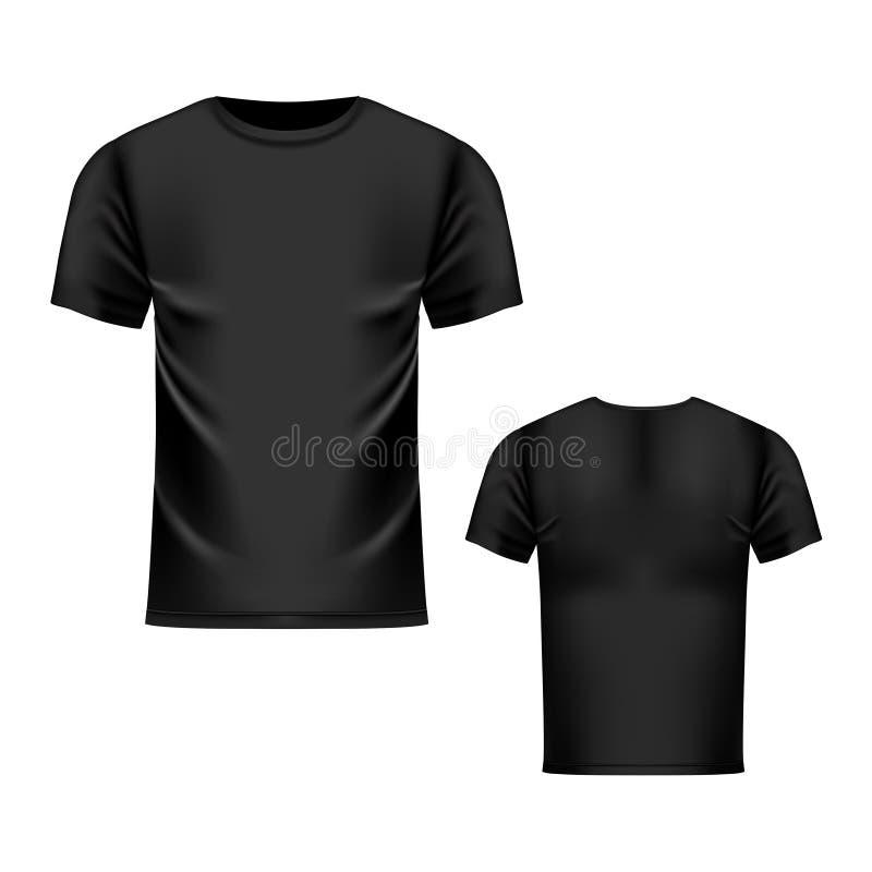 Koszulka czarny szablon, przód i tylny widok, Wektorowy realistyczny egzamin próbny up royalty ilustracja
