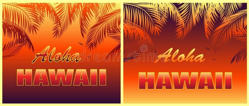 Koszulka druków gorąca tropikalna różnica z Aloha Hawaje literowania, seagull i pomarańcze liści palmowymi sylwetkami na nocy tle royalty ilustracja