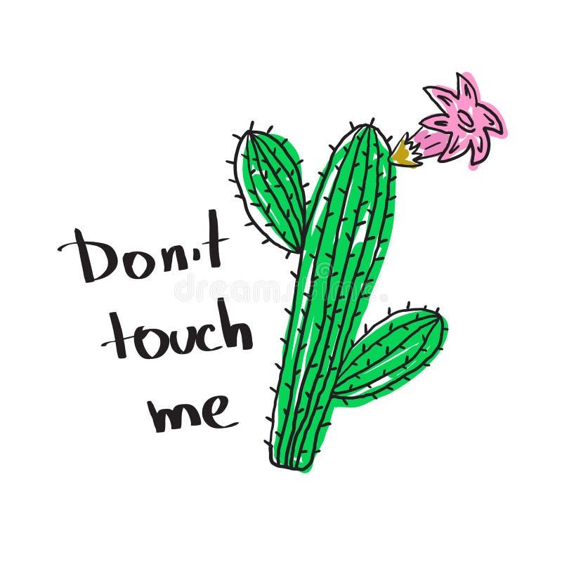 Koszulka druk z kaktusem i slogan no dotykamy ja ilustracja wektor