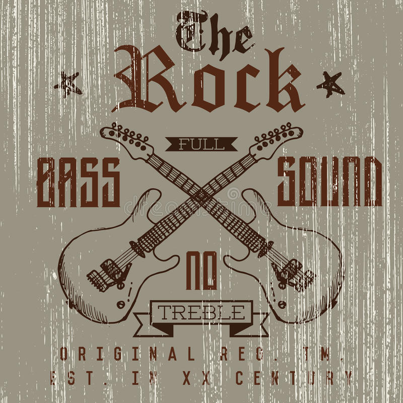 Koszulka druku projekt, typografii grafika Rockowego pełnego basu dźwięka wektorowa ilustracja z grunge krzyżować gitarami wręcza royalty ilustracja