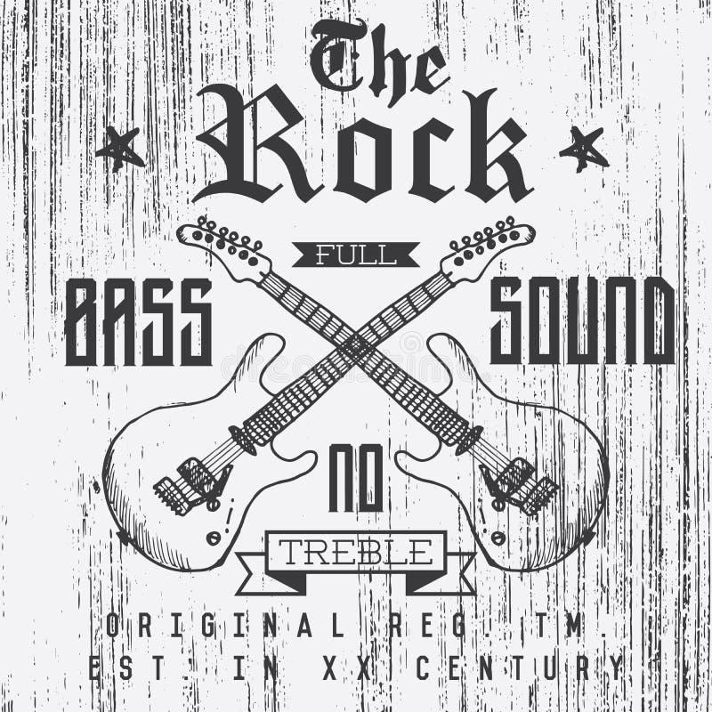 Koszulka druku projekt, typografii grafika Rockowego pełnego basu dźwięka wektorowa ilustracja z grunge krzyżować gitarami wręcza ilustracji