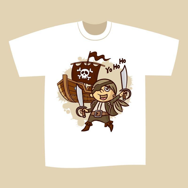 Koszulka druku projekta pirat royalty ilustracja
