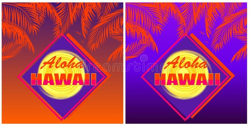 Koszulka drukuje różnicę z Hawaje literowaniem, kokosowymi pomarańczowymi palma liśćmi i słońcem na Aloha, zmierzchu i nocy tle ilustracja wektor