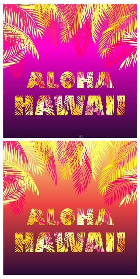 Koszulka drukuje różnicę z Hawaje literowaniem z kolorem żółtym, pomarańcze i menchia palmowymi liśćmi na tropikalnym ciemnym noc ilustracja wektor