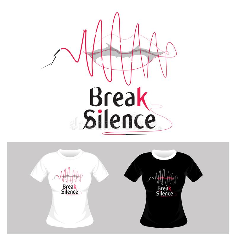 Koszulka Graficzny projekt Przerwy ciszy pojęcie - wektor royalty ilustracja