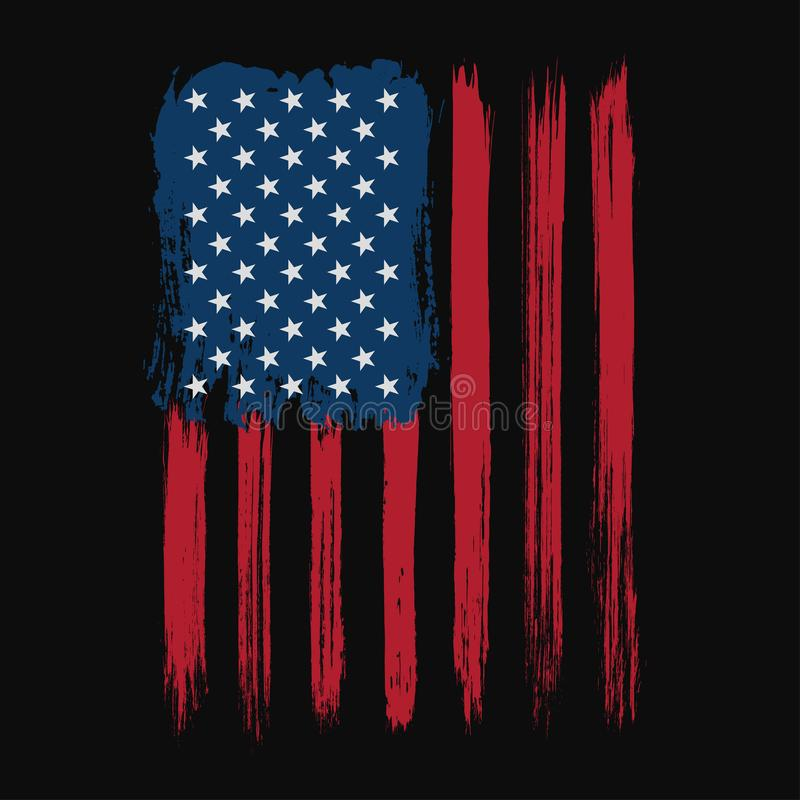 Koszulka graficzny projekt z flaga amerykańską i grunge teksturą Nowy Jork typografii koszulowy projekt ilustracja wektor