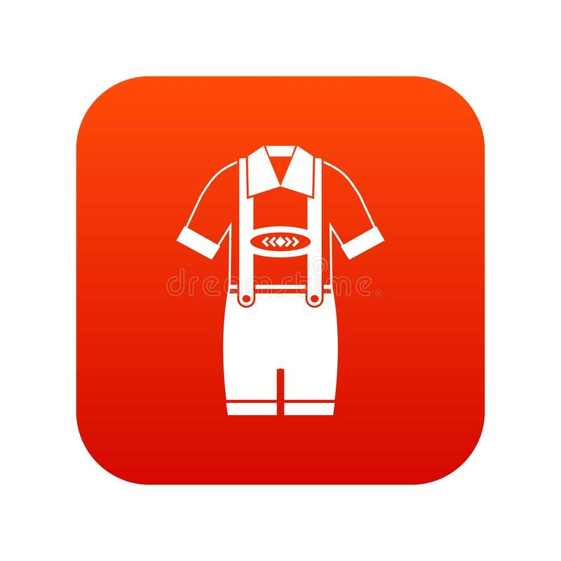 Koszulka i spodnia z suspenders ikony cyfrową czerwienią royalty ilustracja