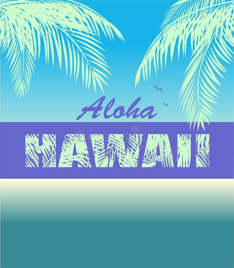 Koszulka neonowy druk z Hawaje literowaniem Aloha, koks mennicy koloru palma opuszcza i seagull ilustracji
