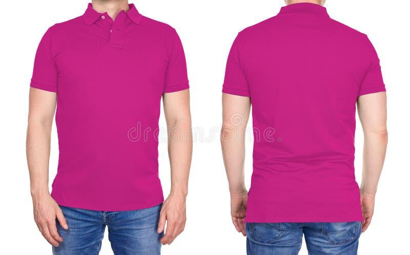 Koszulka projekt - mężczyzna w puste miejsce menchii polo koszula odizolowywającej obraz royalty free