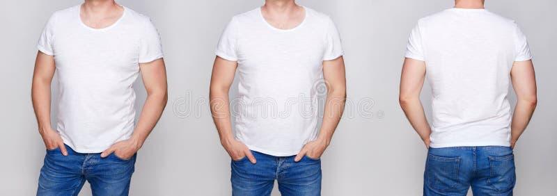 Koszulka projekt - młody człowiek w pustym białym tshirt przodzie obraz royalty free