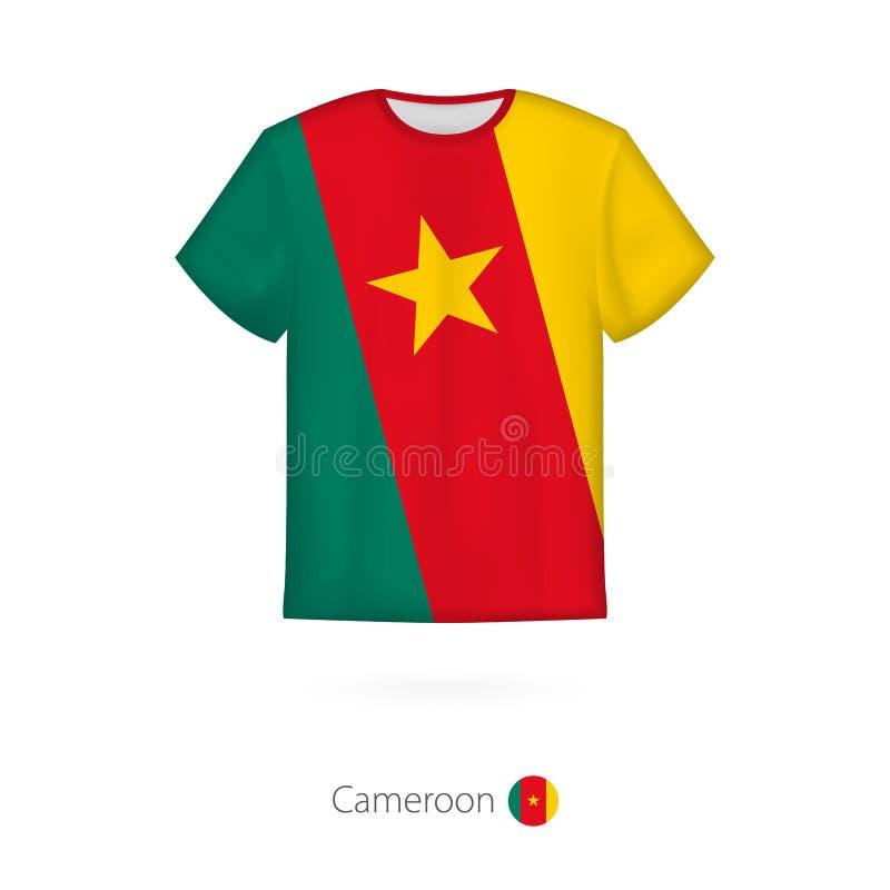 Koszulka projekt z flagą Cameroon royalty ilustracja