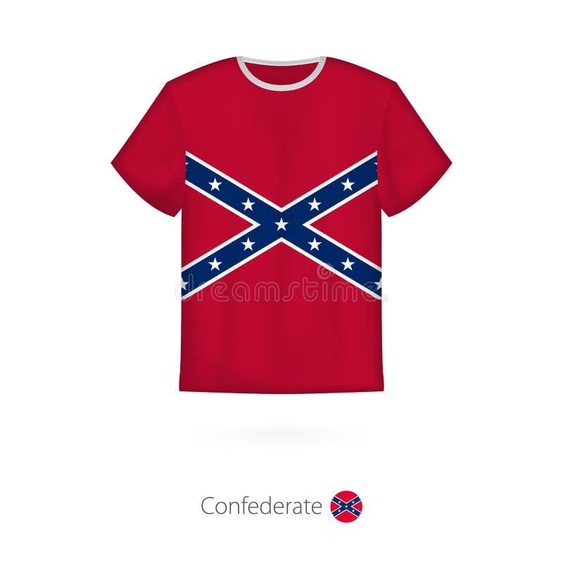 Koszulka projekt z flagą konfederat U S stan ilustracji