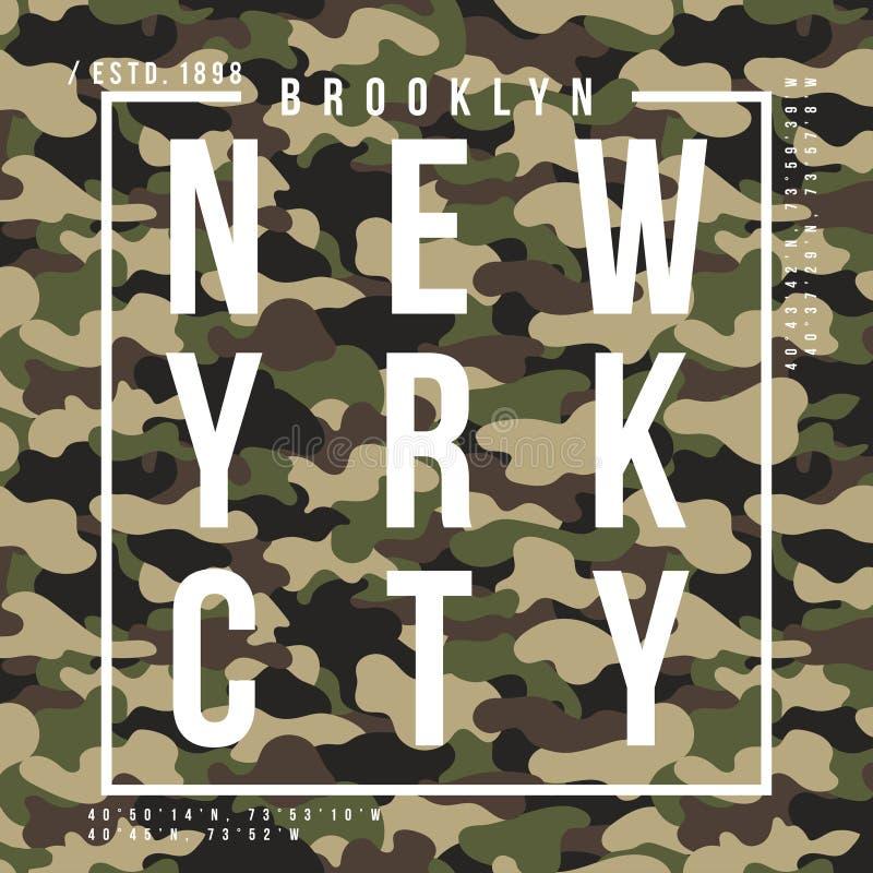 Koszulka projekt z kamuflaż teksturą Miasto Nowy Jork typografia z sloganem dla koszulowego druku Koszulki grafika w ulicznym woj ilustracji