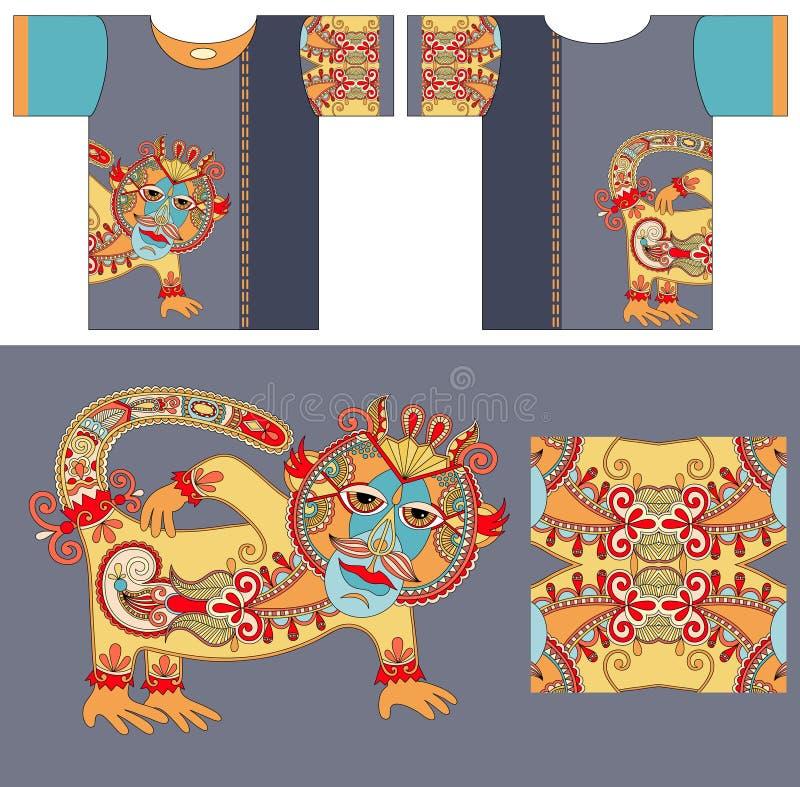 Koszulka projekt z unikalną dekoracyjną fantazją ilustracja wektor