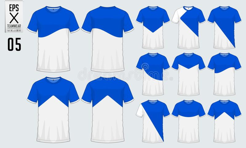 Koszulka sporta projekta szablon dla piłki nożnej bydła, futbolowego zestawu i podkoszulka bez rękawów dla koszykówki bydła, Spor royalty ilustracja