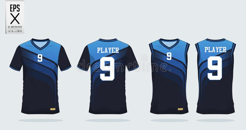 Koszulka sporta projekta szablon dla piłki nożnej bydła, futbolowego zestawu i podkoszulka bez rękawów dla koszykówki bydła, Mund royalty ilustracja