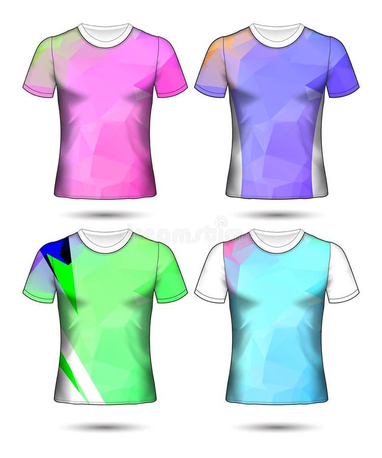 Koszulka szablon?w abstrakcjonistyczna geometryczna kolekcja r??nych kolor?w poligonalna mozaika royalty ilustracja