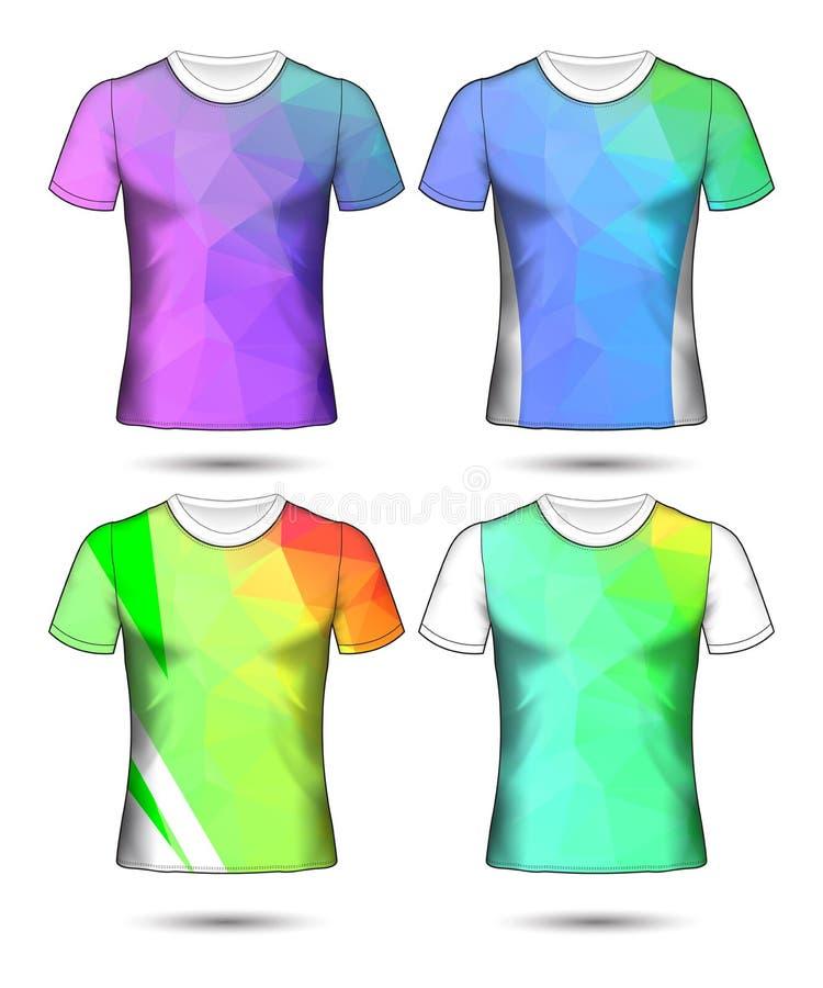 Koszulka szablon?w abstrakcjonistyczna geometryczna kolekcja r??nych kolor?w poligonalna mozaika ilustracja wektor