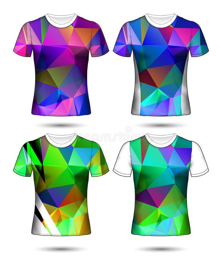 Koszulka szablon?w abstrakcjonistyczna geometryczna kolekcja r??nych kolor?w poligonalna mozaika ilustracji