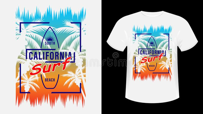Koszulka z nadrukiem California Surf royalty ilustracja