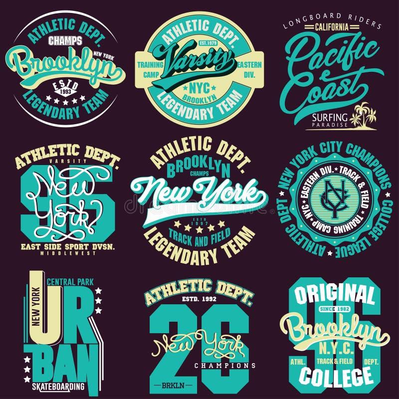Koszulki grafiki stemplowy set Sport odzieży typografii emblemat ilustracji