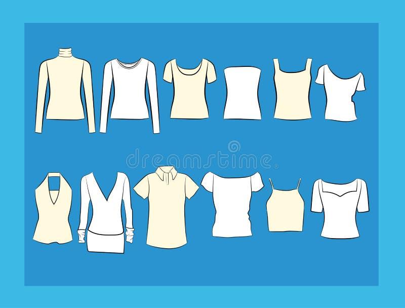 Koszulki i bluzek illustracion set ilustracja wektor