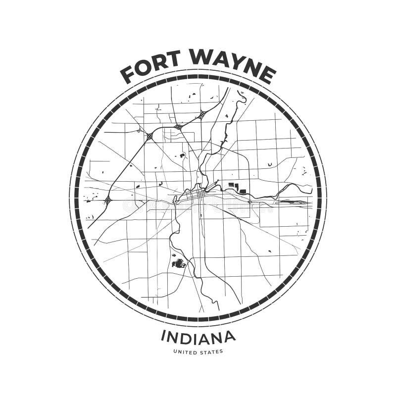 Koszulki mapy odznaka Fort Wayne, Indiana ilustracji