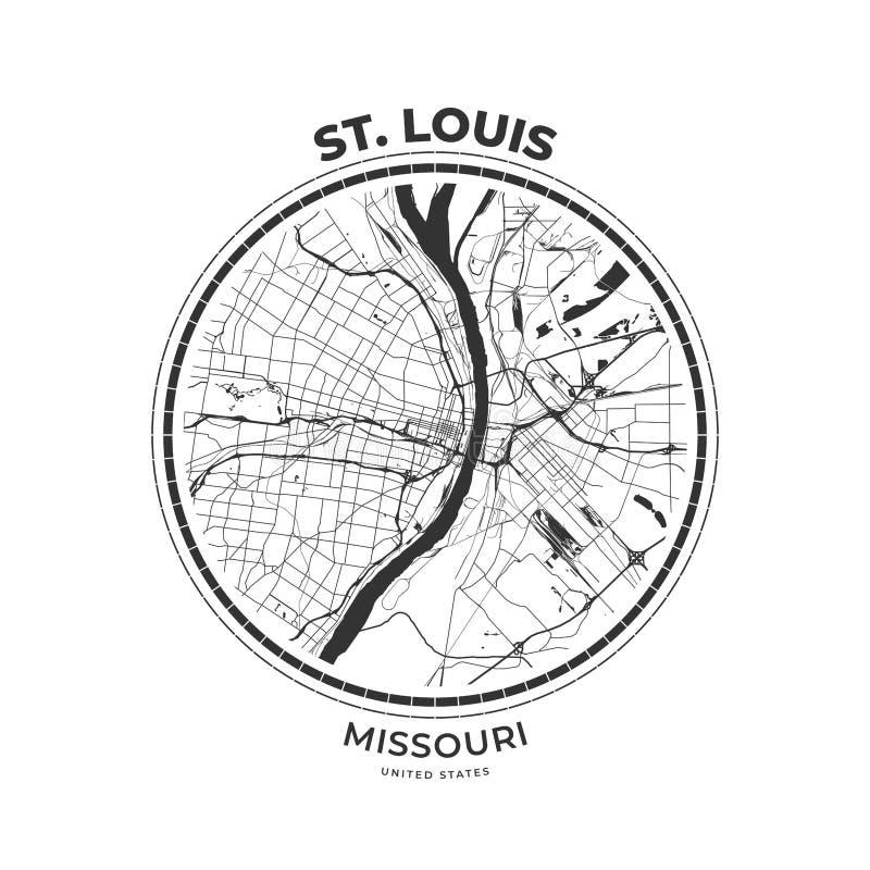 Koszulki mapy odznaka St Louis, Missouri ilustracja wektor