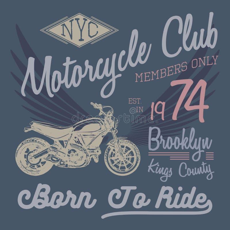 Koszulki typografii projekt, motocyklu wektor, NYC drukowe grafika, typograficzna wektorowa ilustracja, Nowy Jork jeźdzów grafiki royalty ilustracja