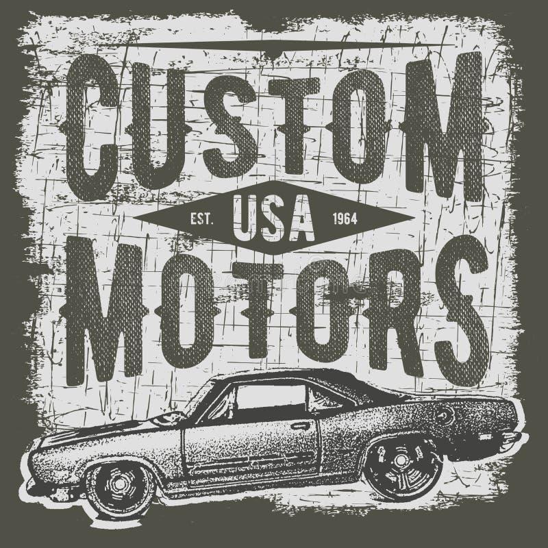 Koszulki typografii projekt, retro samochodowy wektor, drukowe grafika, typograficzna wektorowa ilustracja, rocznika samochodowy  royalty ilustracja