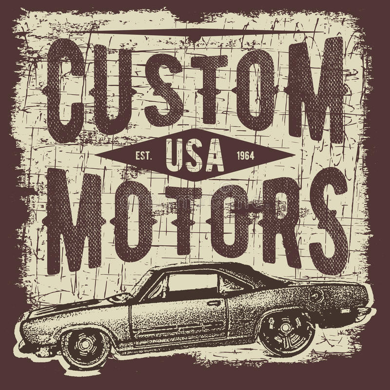 Koszulki typografii projekt, retro samochodowy wektor, drukowe grafika, typograficzna wektorowa ilustracja, rocznika samochodowy  ilustracja wektor