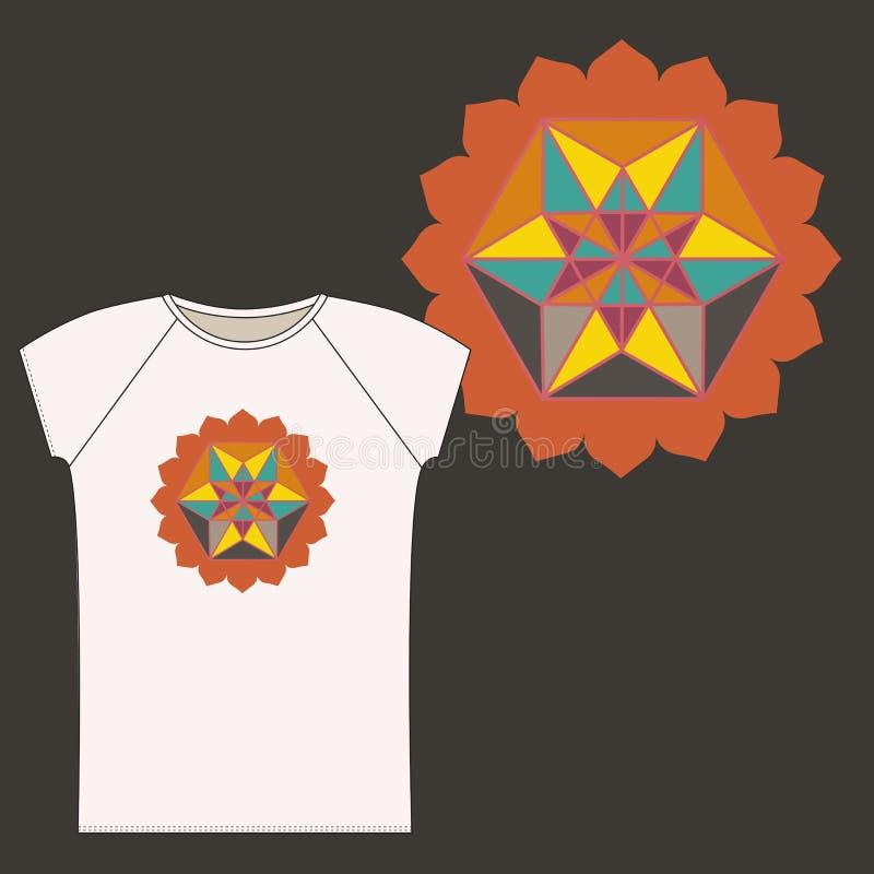 Koszulka z elementem Święta geometria royalty ilustracja
