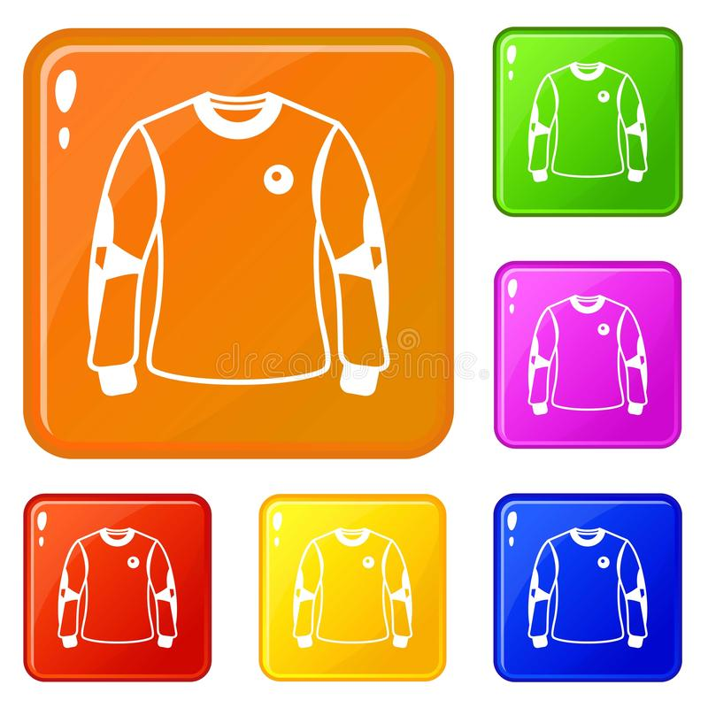 Koszulowe ikony ustawiający bramkarza wektorowy kolor royalty ilustracja