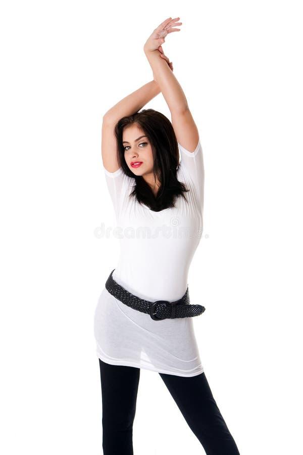 koszulowy brunetka biel fotografia stock