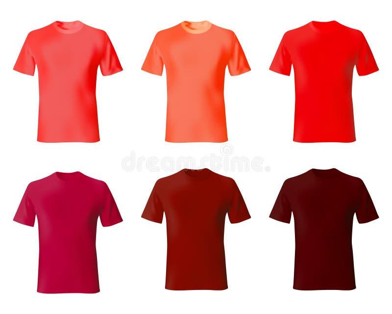 koszulowy projekta szablon t Ustawia mężczyzna koszula czerwonego kolor Realistycznego mockup tshirt modela męska moda ilustracja wektor