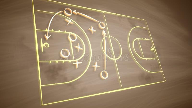 Koszykówek śródpolne taktyki z zero i krzyżami ilustracja wektor