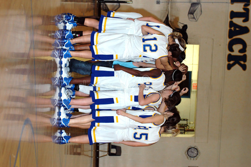 koszykówek naradę zespół dziewczyn fotografia royalty free