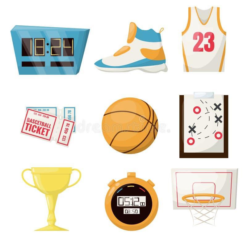 Koszykówka bawi się gemowej piłki wektorowego ilustracyjnego koszykowego balowego turniejowego wyposażenie Profesjonalisty czasu  ilustracja wektor
