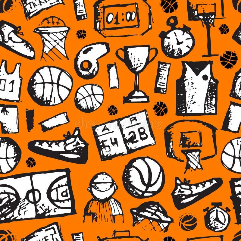 Koszykówka bezszwowy wzór, nakreślenie dla twój royalty ilustracja