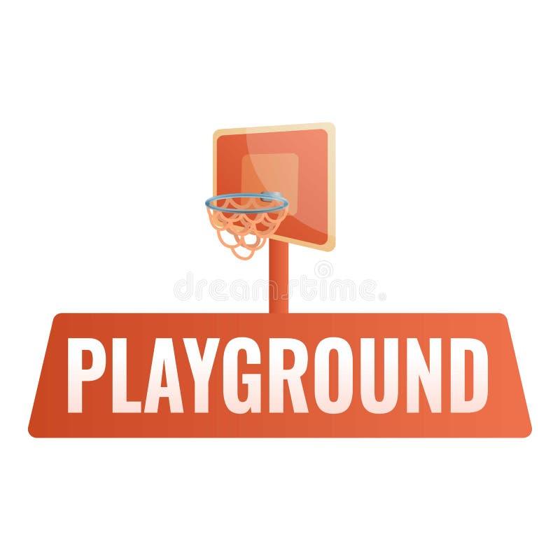 Koszykówka dzieciaka boiska logo, kreskówka styl ilustracja wektor